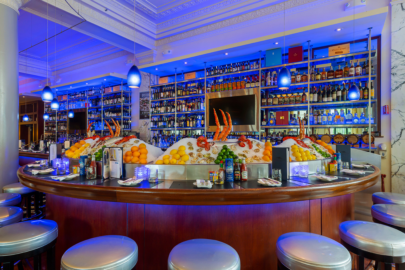Blue-Lit Restaurant With Fresh Seafood Bar