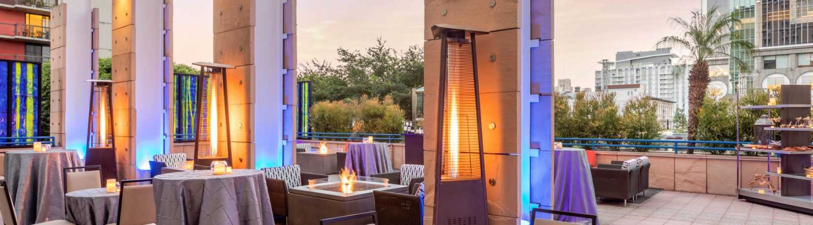 Rooftop Restaurant with Tall Patio Heaters and Fire Pits