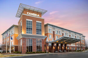 Cambria Hotel Exterior at Sunset