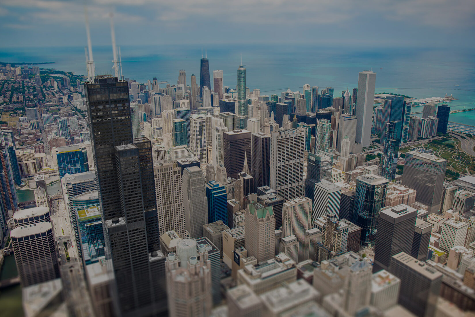 Aerial View of Chicago on a Partly Cloudy Day