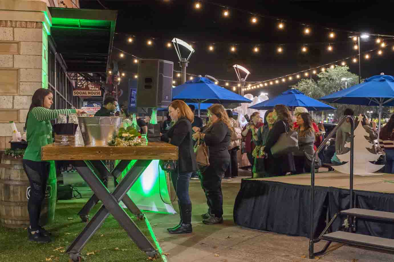 Outdoor Grand Opening Event at Night