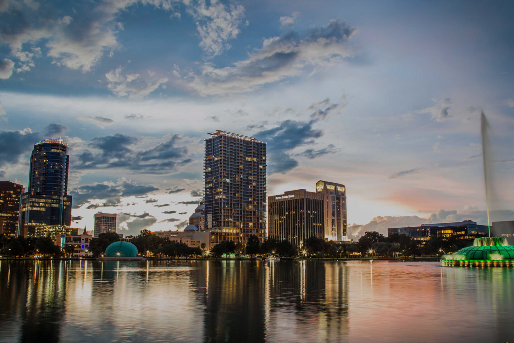 View of Downtown Orlando on Lake Eola at Sunset