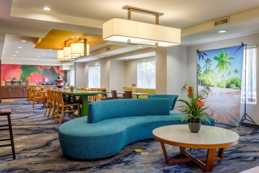Colorful and modern hotel lobby area