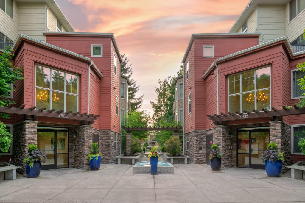 Outdoor view of apartment complex courtyard