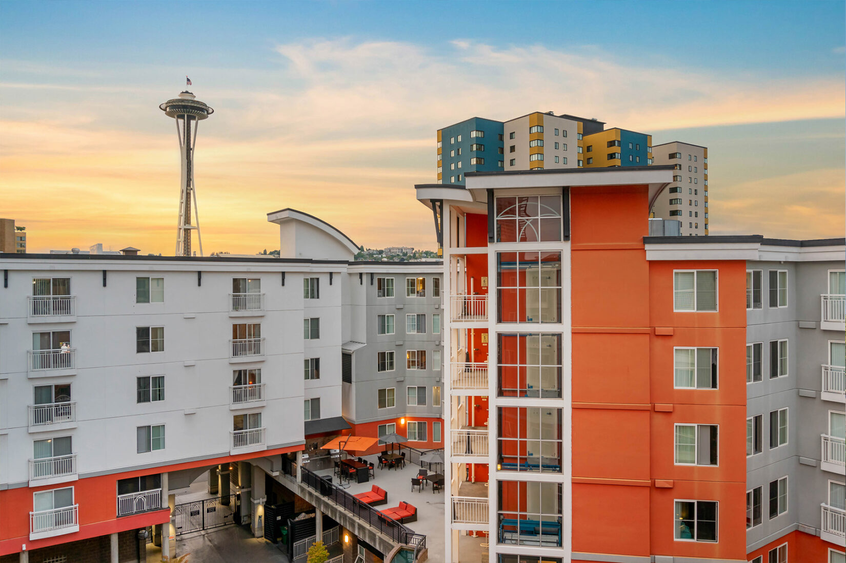 Exterior View of Orange and White Apartment Near the Seattle Space Needle