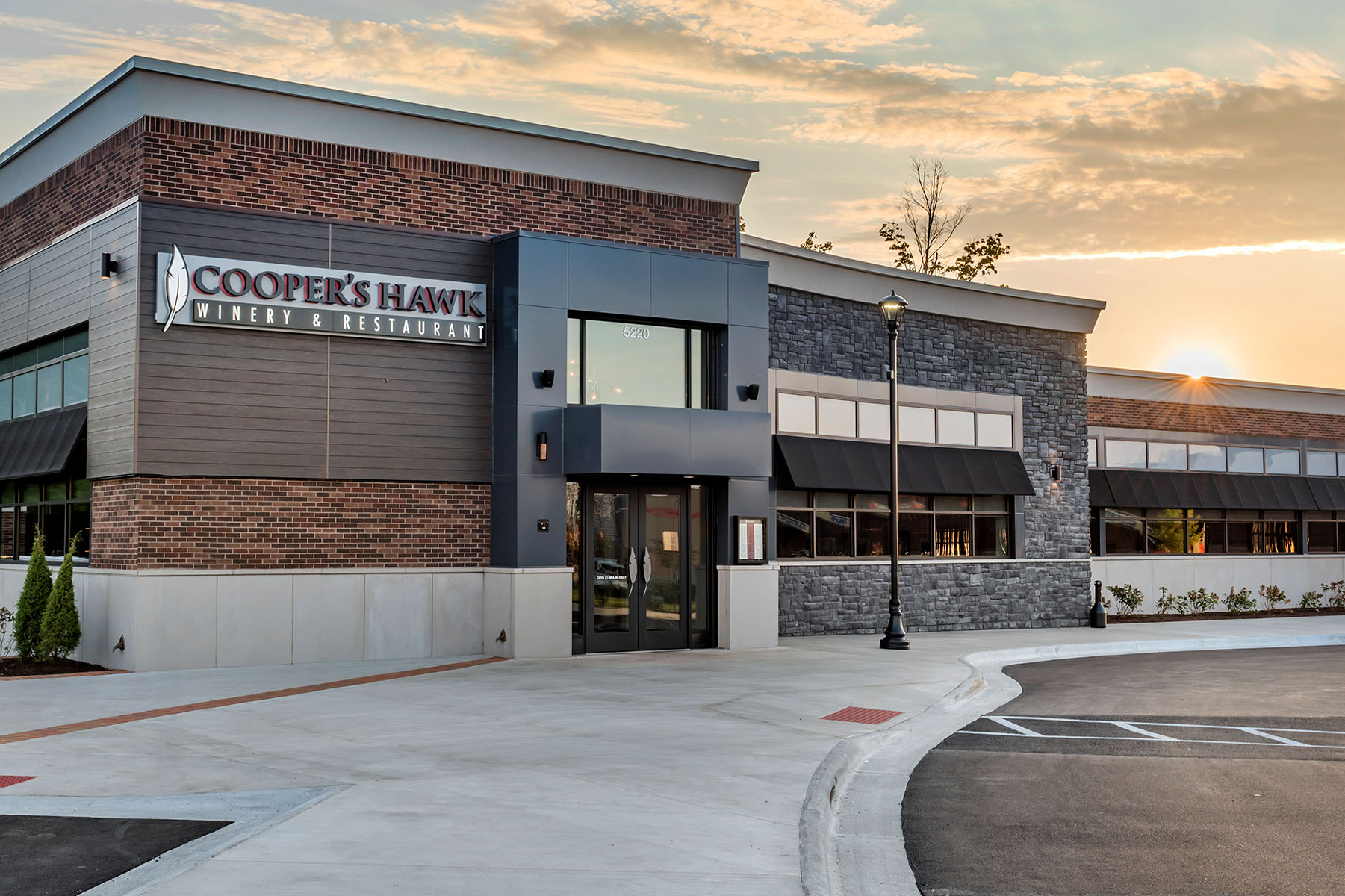 Exterior View of Cooper's Hawk in Centerville at Dusk