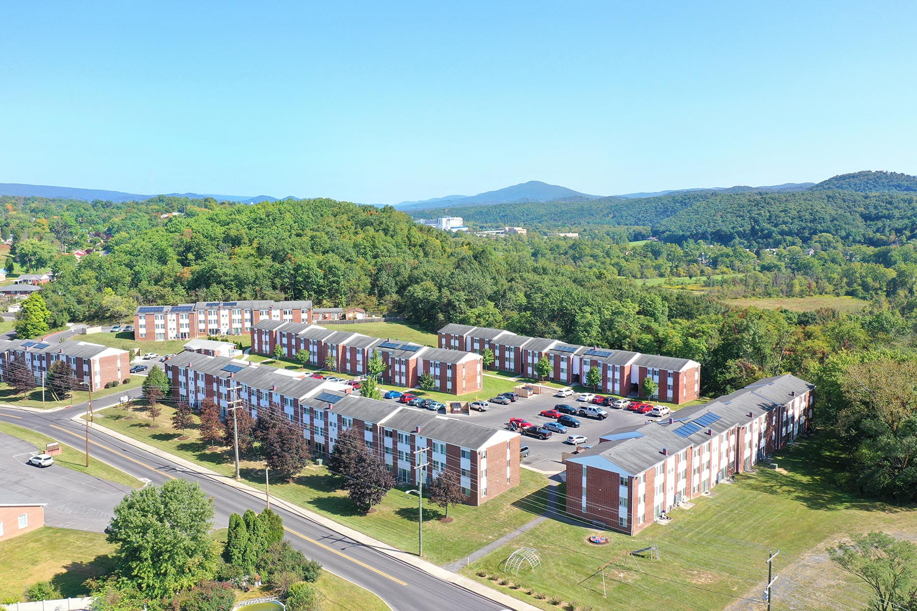 Aerial View of Fairstead Apartments on Sunny Day