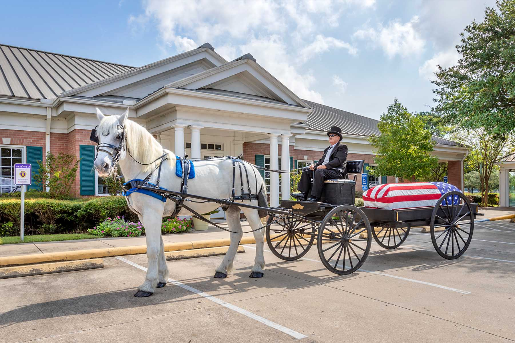 Man Steering a Horse Towing a Coffin and American Flag