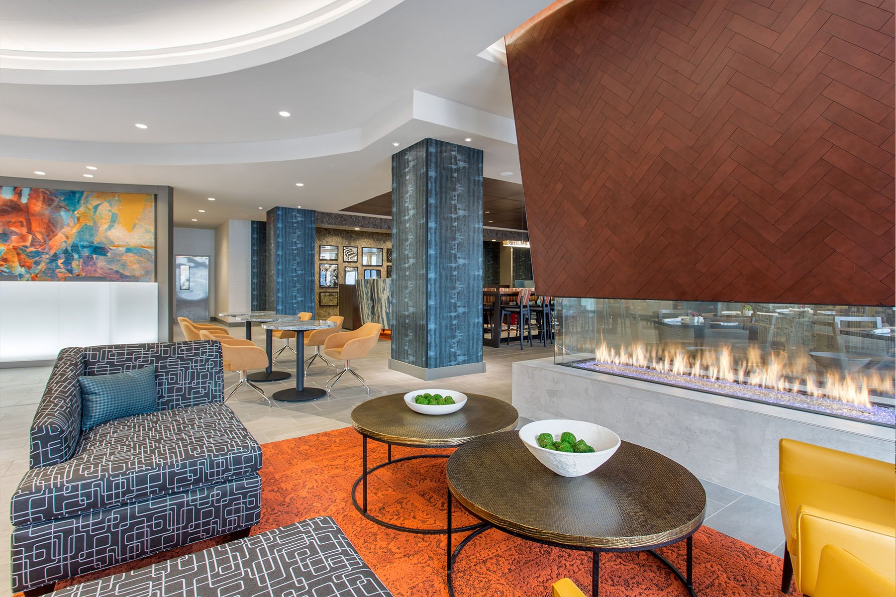 Modern Interior Lobby with Fireplace