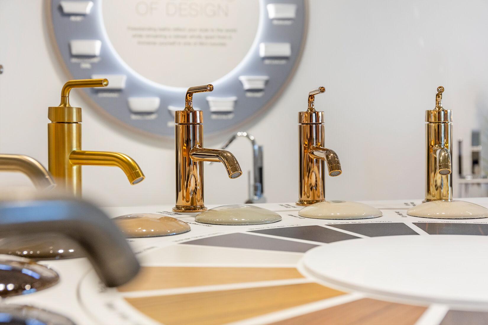 Closeup of Faucets at Kohler Showroom