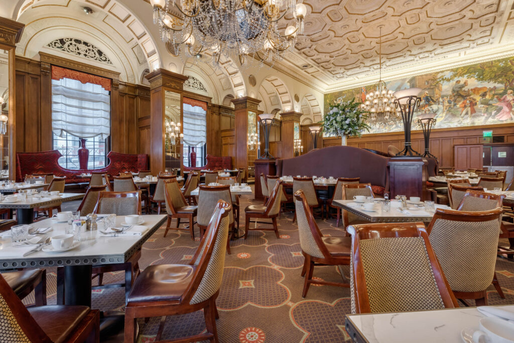 Upscale hotel restaurant dining room