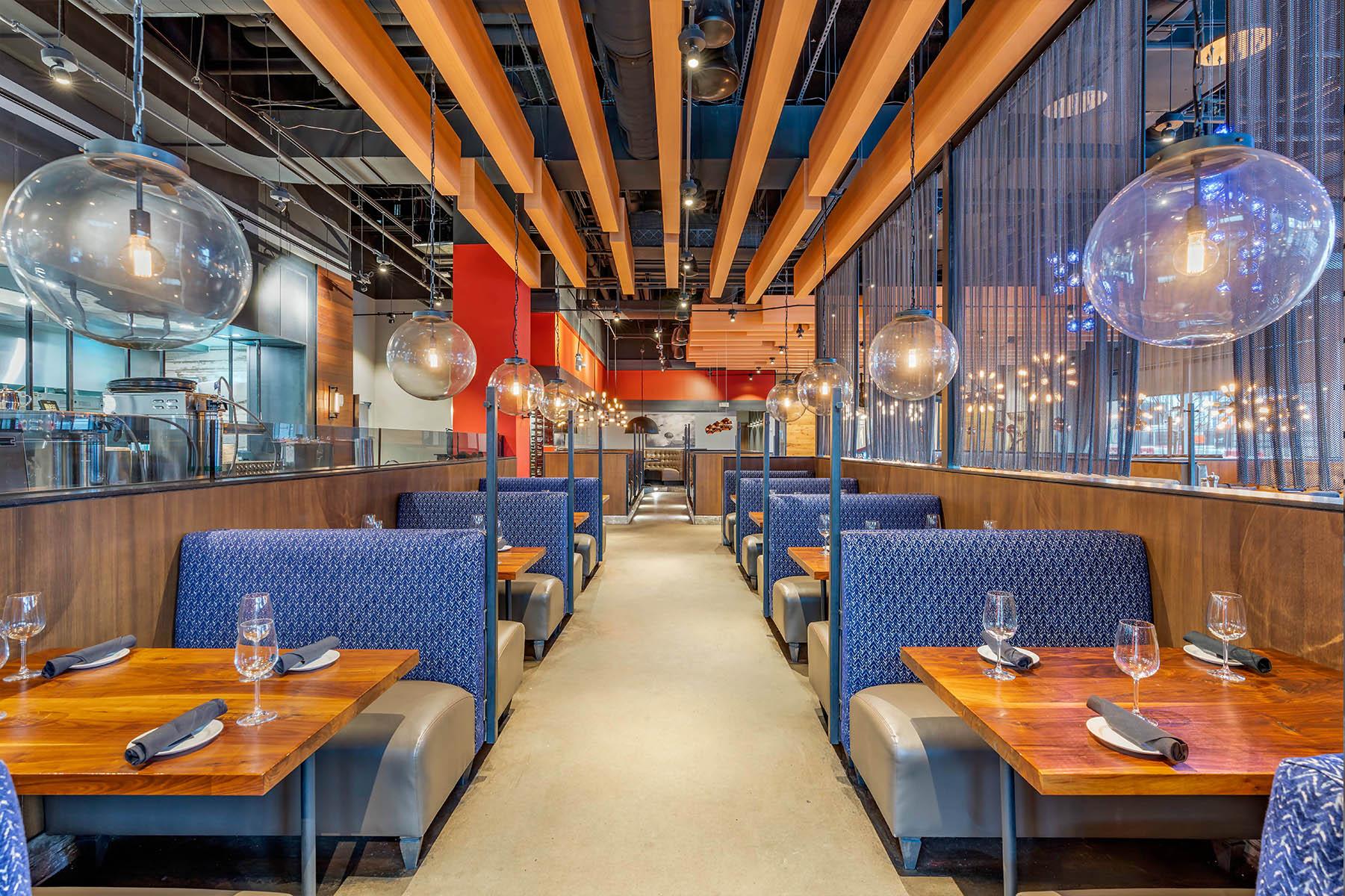 Modern Restaurant with Blue Booths