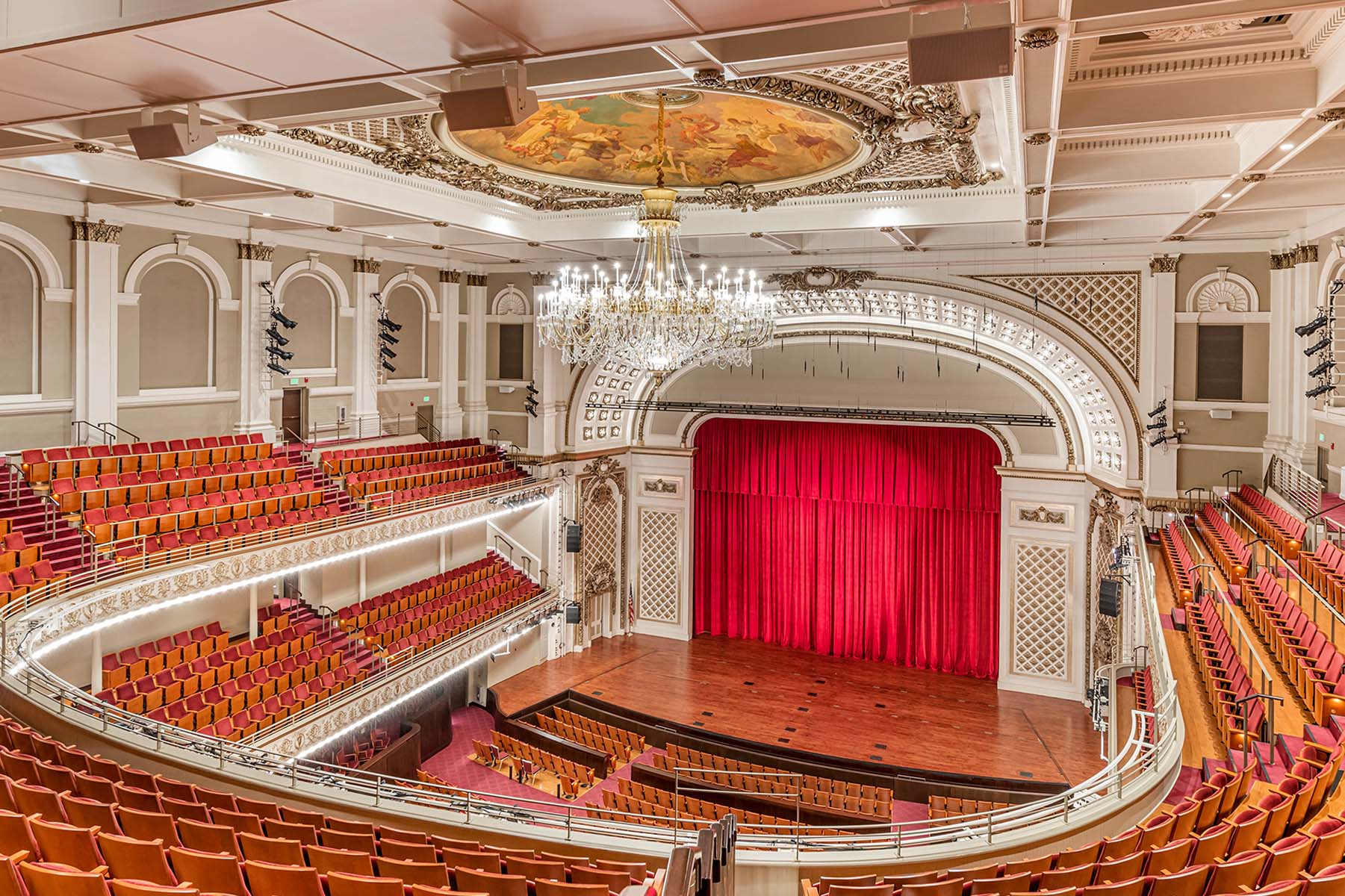 Elegant Theatre with Painted Ceiling and Chandelier