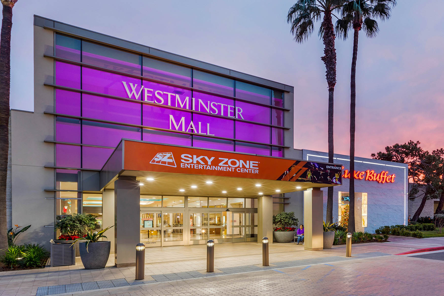 Westminster Mall Exterior at Sunset
