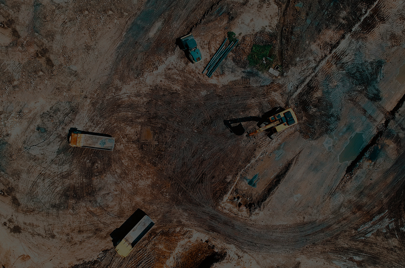 aerial view of construction site - dark overlay on photo