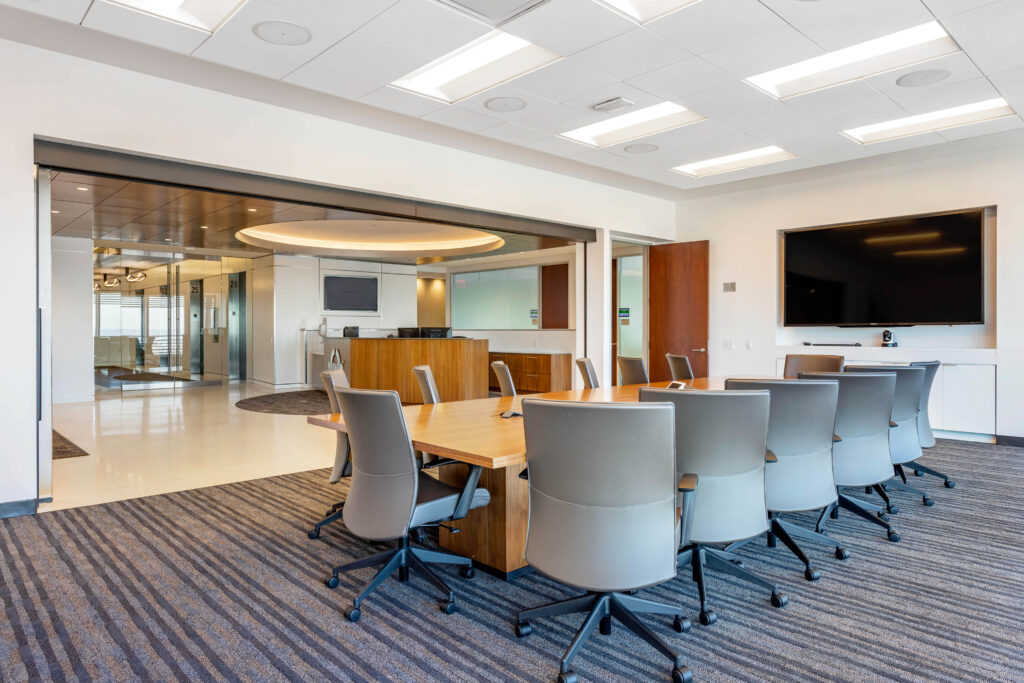 Photo of a contemporary office lobby and meeting space