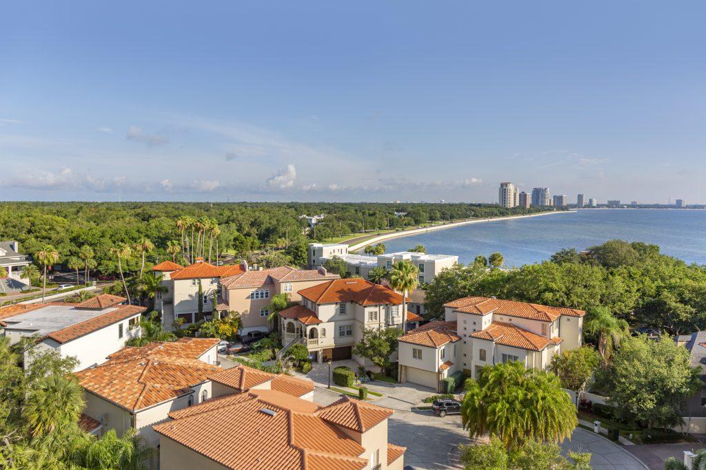 Drone photo of an upscale retirement community neighborhood